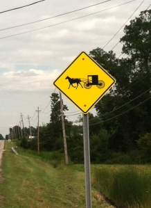 Amish crossing sign in Monroe Township, Ohio