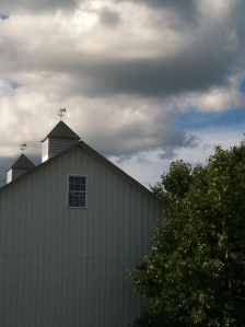 barn with scary clouds